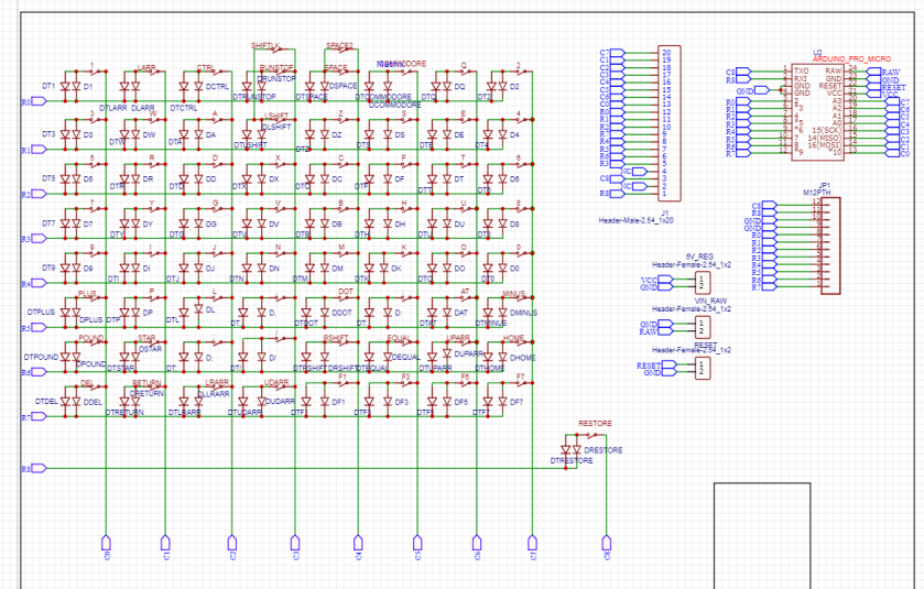 C64 MINI KEYBOARD SCHEMATIC 1